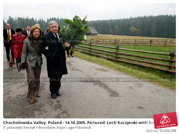 Chocholowska Valley, Poland - 14.10.2005. Pictured: Lech Kaczynski with his wife Maria. Редакционное фото, фотограф jackowski henryk / age Fotostock / Фотобанк Лори
