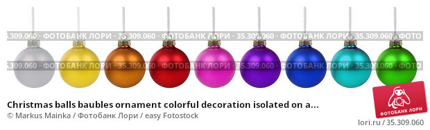 Christmas balls baubles ornament colorful decoration isolated on a... Стоковое фото, фотограф Markus Mainka / easy Fotostock / Фотобанк Лори