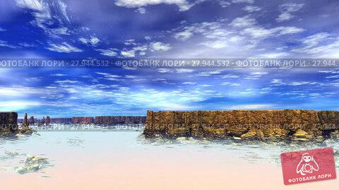 Купить «Чужая планета. Скалы и озеро. Анимация. Панорама. 4К», видеоролик № 27944532, снято 17 февраля 2018 г. (c) Parmenov Pavel / Фотобанк Лори