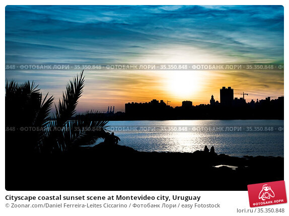 Cityscape coastal sunset scene at Montevideo city, Uruguay. Стоковое фото, фотограф Zoonar.com/Daniel Ferreira-Leites Ciccarino / easy Fotostock / Фотобанк Лори