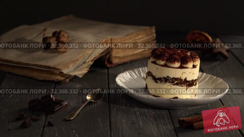 Купить «Classic Italian dessert Tiramisu», видеоролик № 32360332, снято 10 апреля 2020 г. (c) Данил Руденко / Фотобанк Лори