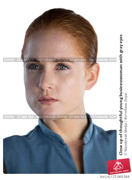 Купить «Close up of thoughtful young businesswoman with gray eyes», фото № 27069564, снято 6 июня 2017 г. (c) Wavebreak Media / Фотобанк Лори
