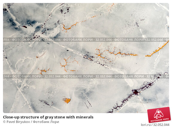 Close-up structure of gray stone with minerals. Стоковое фото, фотограф Pavel Biryukov / Фотобанк Лори