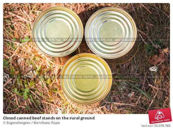 Купить «Closed canned beef stands on the rural ground», фото № 33079760, снято 14 июля 2019 г. (c) EugeneSergeev / Фотобанк Лори