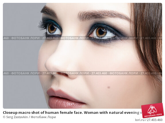 Купить «Closeup macro shot of human female face. Woman with natural evening vogue face beauty makeup», фото № 27403460, снято 8 октября 2017 г. (c) Serg Zastavkin / Фотобанк Лори