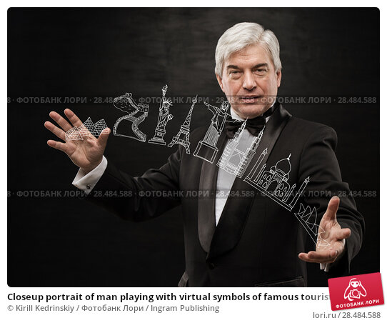 Купить «Closeup portrait of man playing with virtual symbols of famous touristic destination. Touristic service concept», фото № 28484588, снято 28 января 2013 г. (c) Ingram Publishing / Фотобанк Лори