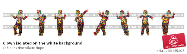 Clown isolated on the white background. Стоковое фото, фотограф Elnur / Фотобанк Лори