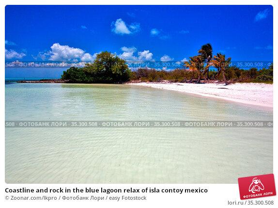 Coastline and rock in the blue lagoon relax of isla contoy mexico. Стоковое фото, фотограф Zoonar.com/lkpro / easy Fotostock / Фотобанк Лори