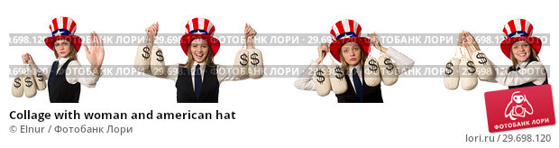 Купить «Collage with woman and american hat», фото № 29698120, снято 23 февраля 2019 г. (c) Elnur / Фотобанк Лори