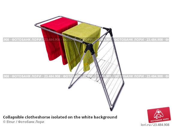 Купить «Collapsible clotheshorse isolated on the white background», фото № 23484908, снято 1 июня 2016 г. (c) Elnur / Фотобанк Лори