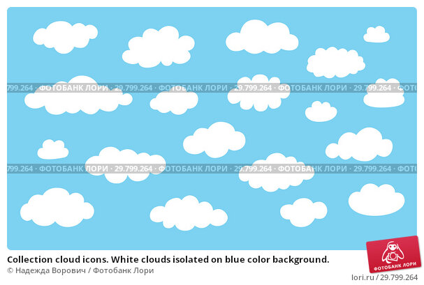 Купить «Collection cloud icons. White clouds isolated on blue color background.», иллюстрация № 29799264 (c) Надежда Ворович / Фотобанк Лори