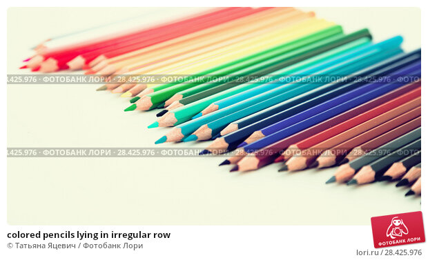 Купить «colored pencils lying in irregular row», фото № 28425976, снято 11 января 2017 г. (c) Татьяна Яцевич / Фотобанк Лори