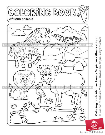 Coloring book African fauna 5 - picture illustration. Стоковое фото, фотограф Zoonar.com/Klara Viskova / easy Fotostock / Фотобанк Лори