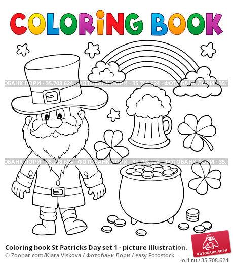Coloring book St Patricks Day set 1 - picture illustration. Стоковое фото, фотограф Zoonar.com/Klara Viskova / easy Fotostock / Фотобанк Лори