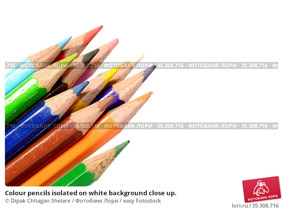 Colour pencils isolated on white background close up. Стоковое фото, фотограф Dipak Chhagan Shelare / easy Fotostock / Фотобанк Лори