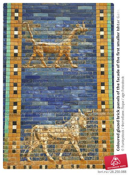 Купить «Coloured glazed brick panels of the facade of the first smaller Ishtar Gate, Babylon, dating from 604-562 BC. Babylon (present day Iraq). The Ishtar Gate...», фото № 28250088, снято 25 июля 2012 г. (c) age Fotostock / Фотобанк Лори