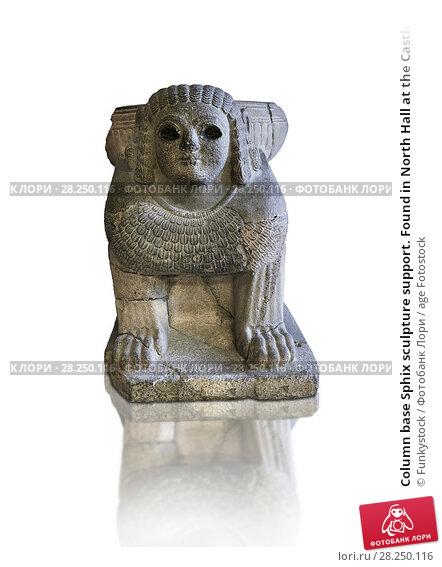 Купить «Column base Sphix sculpture support. Found in North Hall at the Castle of Sam'al - Zincirli. Basalt 8th century BC. Vorderasiatisches Museum, Pergamon Museum, Berlin, inv no 3017.», фото № 28250116, снято 12 июня 2011 г. (c) age Fotostock / Фотобанк Лори