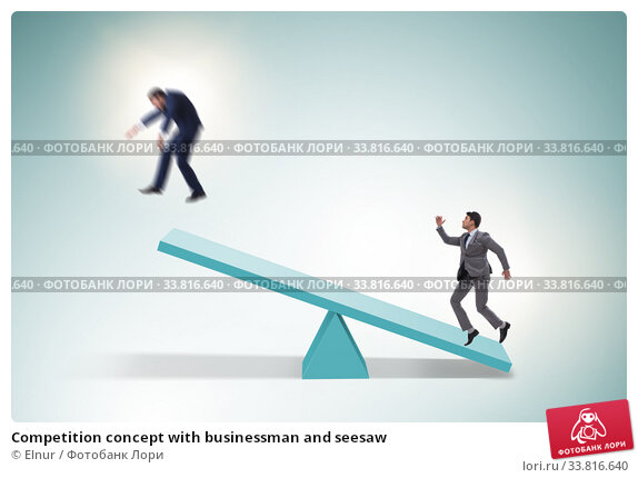 Купить «Competition concept with businessman and seesaw», фото № 33816640, снято 13 июля 2020 г. (c) Elnur / Фотобанк Лори