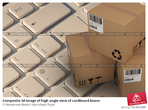 Composite 3d image of high angle view of cardboard boxes, фото № 26663088, снято 27 июля 2017 г. (c) Wavebreak Media / Фотобанк Лори