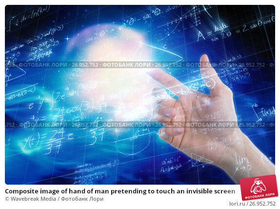 Купить «Composite image of hand of man pretending to touch an invisible screen», фото № 26952752, снято 16 января 2018 г. (c) Wavebreak Media / Фотобанк Лори