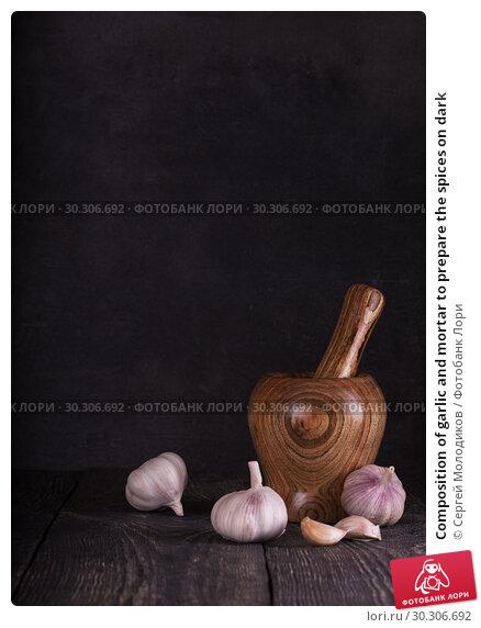 Купить «Composition of garlic and mortar to prepare the spices on dark», фото № 30306692, снято 24 ноября 2018 г. (c) Сергей Молодиков / Фотобанк Лори