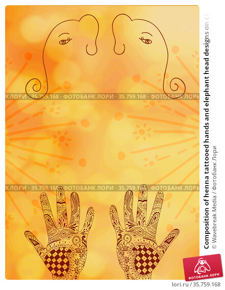 Composition of henna tattooed hands and elephant head designs on cloudy yellow background. Стоковое фото, агентство Wavebreak Media / Фотобанк Лори