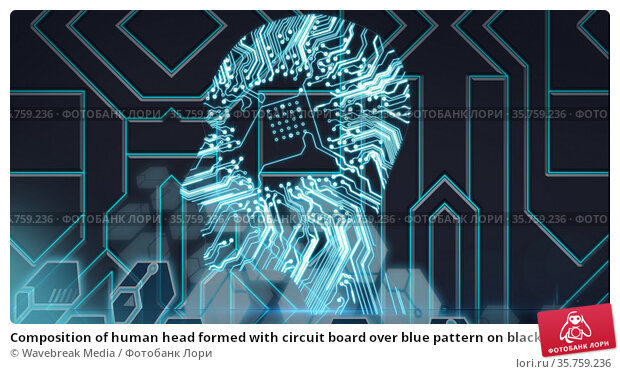 Composition of human head formed with circuit board over blue pattern on black background. Стоковое фото, агентство Wavebreak Media / Фотобанк Лори