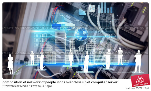 Composition of network of people icons over close up of computer server. Стоковое фото, агентство Wavebreak Media / Фотобанк Лори