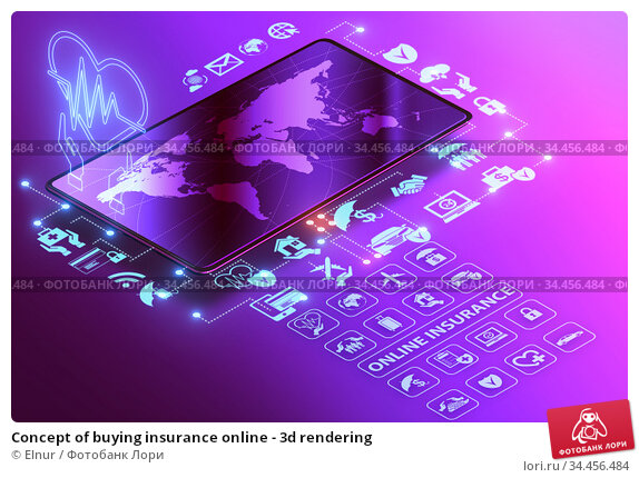Concept of buying insurance online - 3d rendering. Стоковое фото, фотограф Elnur / Фотобанк Лори