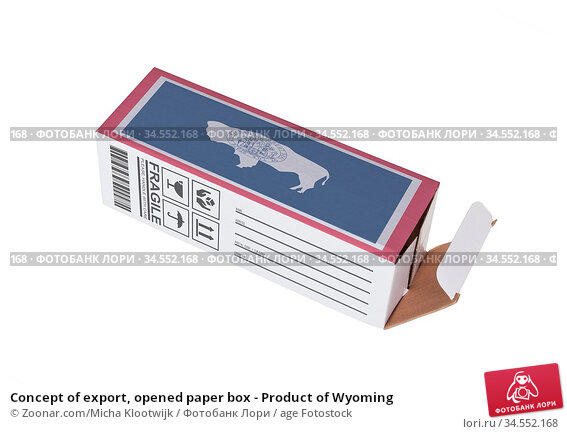 Concept of export, opened paper box - Product of Wyoming. Стоковое фото, фотограф Zoonar.com/Micha Klootwijk / age Fotostock / Фотобанк Лори