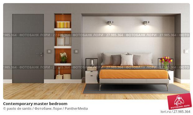 Contemporary master bedroom. Стоковое фото, фотограф paolo de santis / PantherMedia / Фотобанк Лори