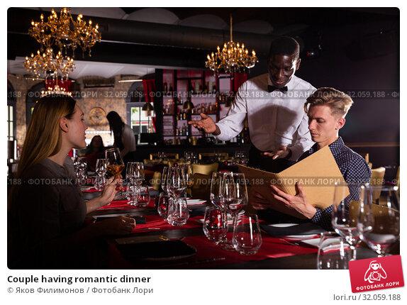 Couple having romantic dinner. Стоковое фото, фотограф Яков Филимонов / Фотобанк Лори