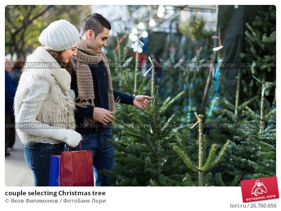 Купить «couple selecting Christmas tree», фото № 26760656, снято 24 мая 2018 г. (c) Яков Филимонов / Фотобанк Лори