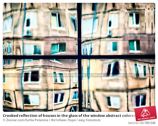 Купить «Crooked reflection of houses in the glass of the window abstract colored background», фото № 33789540, снято 13 июля 2020 г. (c) easy Fotostock / Фотобанк Лори