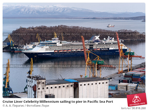 Купить «Cruise Liner Celebrity Millennium sailing to pier in Pacific Sea Port», фото № 30818260, снято 2 мая 2019 г. (c) А. А. Пирагис / Фотобанк Лори