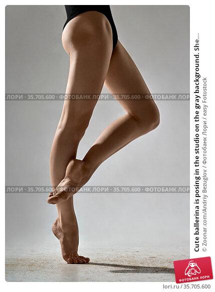 Cute ballerina is posing in the studio on the gray background. She... Стоковое фото, фотограф Zoonar.com/Andriy Bezuglov / easy Fotostock / Фотобанк Лори