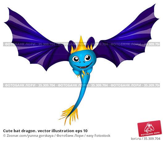 Cute bat dragon. vector illustration eps 10. Стоковое фото, фотограф Zoonar.com/yunna gorskaya / easy Fotostock / Фотобанк Лори