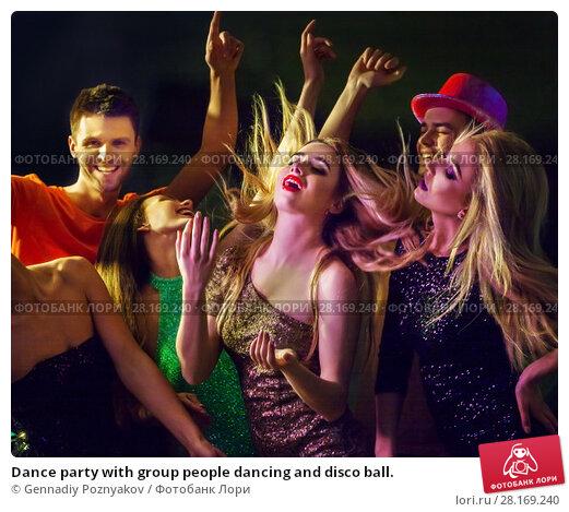 Купить «Dance party with group people dancing and disco ball.», фото № 28169240, снято 29 марта 2017 г. (c) Gennadiy Poznyakov / Фотобанк Лори