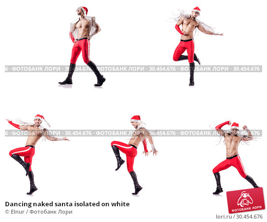 Dancing naked santa isolated on white. Стоковое фото, фотограф Elnur / Фотобанк Лори