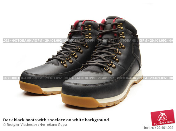 Купить «Dark black boots with shoelace on white background.», фото № 29401092, снято 9 ноября 2018 г. (c) Restyler Viacheslav / Фотобанк Лори