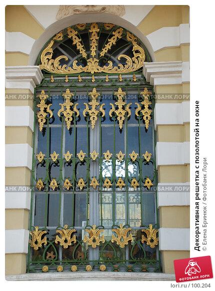 Декоративная решетка с позолотой на окне, фото № 100204, снято 29 сентября 2007 г. (c) Елена Бринюк / Фотобанк Лори