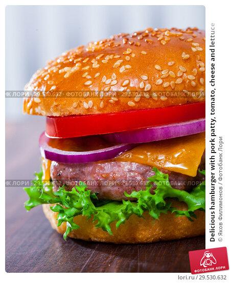 Купить «Delicious hamburger with pork patty, tomato, cheese and lettuce», фото № 29530632, снято 22 апреля 2019 г. (c) Яков Филимонов / Фотобанк Лори
