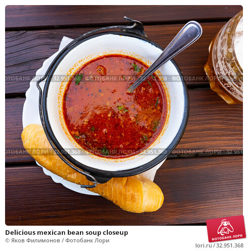 Delicious mexican bean soup closeup. Стоковое фото, фотограф Яков Филимонов / Фотобанк Лори