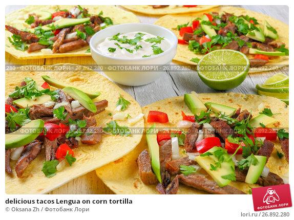 Купить «delicious tacos Lengua on corn tortilla», фото № 26892280, снято 3 июня 2017 г. (c) Oksana Zh / Фотобанк Лори