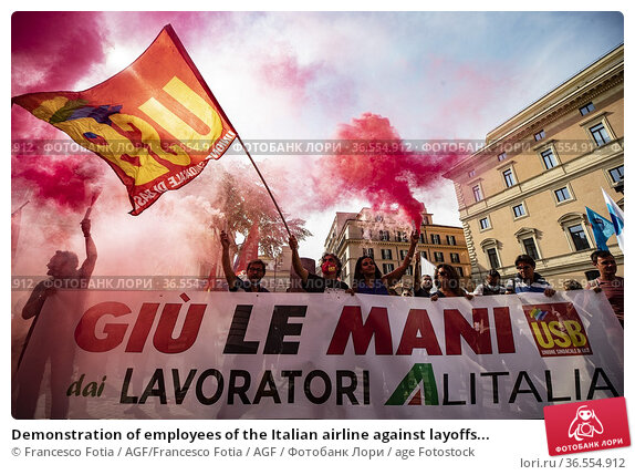 Demonstration of employees of the Italian airline against layoffs... Редакционное фото, фотограф Francesco Fotia / AGF/Francesco Fotia / AGF / age Fotostock / Фотобанк Лори