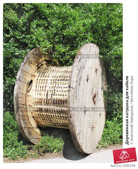 Деревянная катушка для кабеля, фото № 318316, снято 27 мая 2006 г. (c) Анатолий Заводсков / Фотобанк Лори