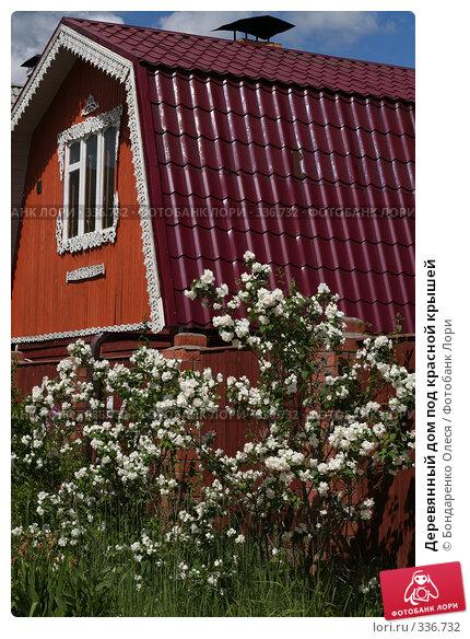 Деревянный дом под красной крышей, фото № 336732, снято 27 июня 2008 г. (c) Бондаренко Олеся / Фотобанк Лори