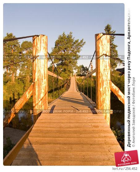 Деревянный подвесной мост через реку Паденга, Архангельская область, фото № 256452, снято 1 августа 2006 г. (c) Анатолий Заводсков / Фотобанк Лори