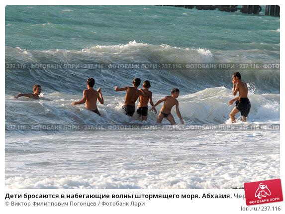 Дети бросаются в набегающие волны штормящего моря. Абхазия. Черное море., фото № 237116, снято 31 августа 2006 г. (c) Виктор Филиппович Погонцев / Фотобанк Лори