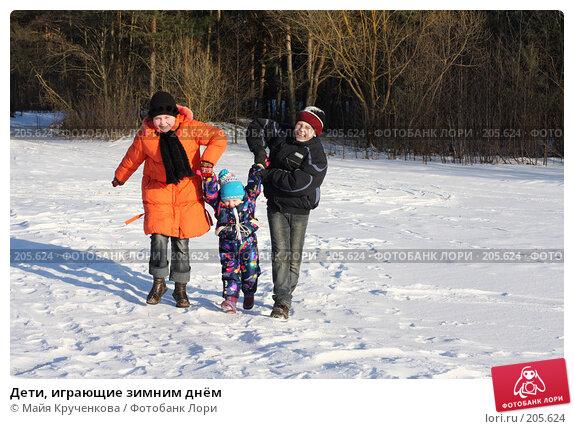 Дети, играющие зимним днём, фото № 205624, снято 16 февраля 2008 г. (c) Майя Крученкова / Фотобанк Лори